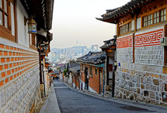 Bukchon Hanok historic district in Seoul at sunset Stock Image