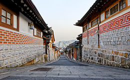 Bukchon Hanok historic district in Seoul at sunset Stock Photos