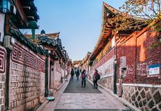 Bukchon Hanok Village, Old Traditional Korean House With Tourist Stock Photo