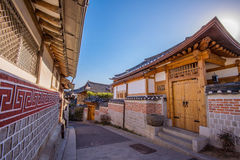 Bukchon Hanok Village,Traditional Korean style architecture in korea.