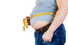 Buken av en fet man som isoleras på vit bakgrund Fet manhol arkivfoto