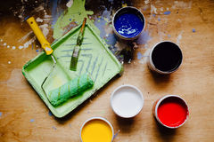 Bukets with paints Royalty Free Stock Images
