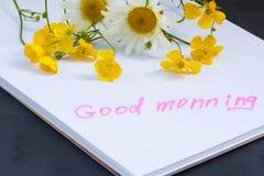 Bukett av blommasmörblommakamomillar och den bra morgonen för anmärkningar Royaltyfri Bild