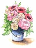 Bukett av blommor i en hink vektor illustrationer