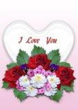 Bukett av blommor med en vit hjärta på en lutningrosa färgbakgrund Royaltyfria Bilder