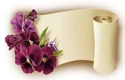 Bukett av blommor och krullad legitimationshandlingar Stock Illustrationer