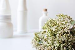 Bukett av blommor på skrivbordvitbakgrund Arkivbild
