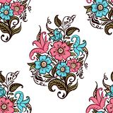 Bukett av blommor Sömlös modell av buketten av dekorativa blommor på en vit bakgrund stock illustrationer