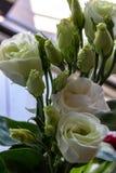 Bukett av blommor, vita rosor arkivfoton