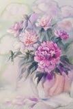 Bukett av den rosa pionvattenfärgen Arkivbilder