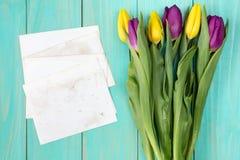 Bukett av färgrika tulpan och tomma kort Arkivfoto