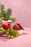 Bukett av granfilialer och julbollar Royaltyfri Fotografi