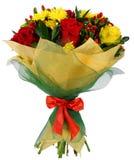Bukett av krysantemum och den röda rosen Royaltyfri Bild