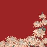 Bukett av krysantemumet på rödbrun bakgrund Arkivbild