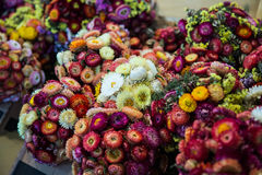 Bukett av kulöra blommor i marknad Arkivbild