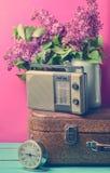 Bukett av lilor i emaljerad kokkärl på den antika resväskan, tappningradio, ringklocka på rosa bakgrund Retro stilstilleben royaltyfri foto