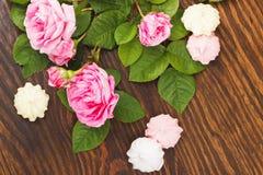 Bukett av ljus - rosa rosor med sötsaker Arkivfoton