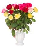 Bukett av nya mångfärgade rosor Arkivfoton
