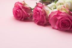 Bukett av nya rosor på en rosa bakgrund kopiera avstånd Celebratory begrepp royaltyfri bild