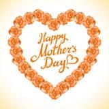 Bukett av orange roshjärta på vit bakgrund hjärta för gulingrosmors dag som göras av orange rosor på vita lodisar Royaltyfria Foton
