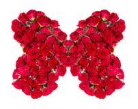 Bukett av ordnade rosor som bildar en fjäril eller som planlägger beståndsdelen för blom- teman Royaltyfri Foto