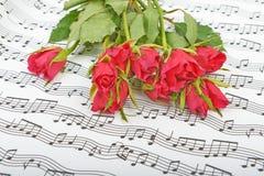 Bukett av röda rosor på en bakgrund Arkivfoto