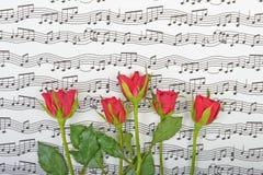 Bukett av röda rosor på en bakgrund Arkivbilder