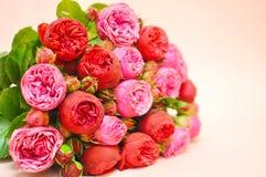 Bukett av rosa peones och rosor royaltyfri fotografi