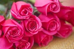 Bukett av rosa rosor Arkivfoto