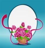 bukett av rosa rosor i en korg vektor illustrationer