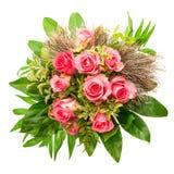 Bukett av rosa rosor som isoleras på vit dagblomman ger mödrar mumsonen till Royaltyfri Bild