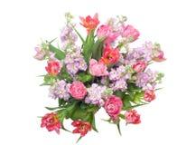Bukett av rosa tulpan med det grånade materielet Royaltyfria Foton