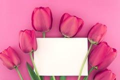 Bukett av rosa tulpan på rosa bakgrund med det tomma kortet Royaltyfria Bilder