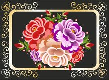 Bukett av rosor på en svart bakgrund Vektor Illustrationer
