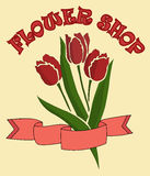 Bukett av tulpan i blomsterhandeln vektor Arkivbild