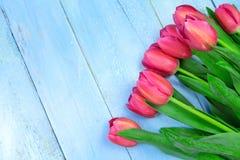 Bukett av tulpan på den blåa trätabellen Lycklig dag för kvinna` s 8 mars , Dag för moder` s Lekmanna- lägenhet och kopieringsutr Royaltyfria Bilder