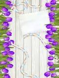 Bukett av tulpan på lantligt träbräde 10 eps Fotografering för Bildbyråer