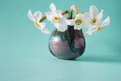Bukett av vita påskliljor i tappningvas white för blommaskogfjäder Arkivfoto