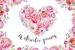 Bukett för hjärta för vattenfärgtappning blom- piony Boho vårflowe Royaltyfri Foto