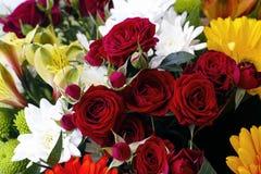 Bukett med röda rosor, krysantemum och gerberas Royaltyfri Bild