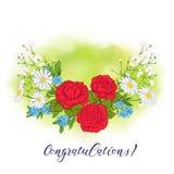 Bukett med rosor och tusenskönor stock illustrationer