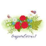 Bukett med rosor och tusenskönor royaltyfri illustrationer