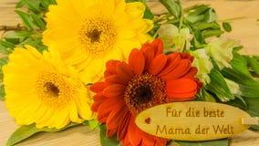 Bukett med text i tysk royaltyfria bilder