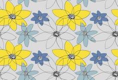 bukettbows figure seamless litet för blommamodell Grå bakgrund med guling- och blåttblommor Royaltyfri Fotografi