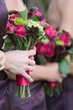 bukettbrudtärnabröllop Fotografering för Bildbyråer