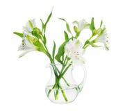 Buketten av alstroemeria blommar i den isolerade genomskinliga vasen royaltyfria foton