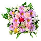 Buketten av blommor isoleras på vit bakgrund, Royaltyfri Bild