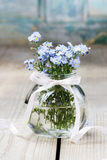 Buketten av förgätmigejen blommar i den glass vasen Royaltyfria Foton