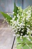 Buketten av liljekonvaljblommor i prucken gräsplan kan Royaltyfri Fotografi