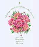 Buketten av pionen blommar med garnering stock illustrationer